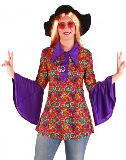Flower Power Hemd Damen Hippie-Hemd Bluse 60er 70er Jahre Hippiekostüm Damen KK