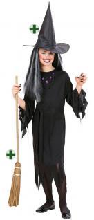 Hexenkostüm Hexe Kinder Mädchen Kostüm Horror Halloween Hexenhut Hexenbesen KK