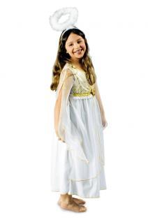 Engel Kostüm Mädchen Kinder Engelskostüm Kinderkostüm Kleid weiß-gold KK