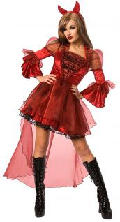Teufel Kostüm Damen Teufelin Gothic Halloween Karneval Damenkostüm KK