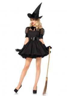 Karneval Klamotten Kostüm Hexe schwarz Dame Luxus Karneval Halloween Damenkostüm