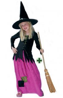 Hexenkostüm Kinder Hexe Luxus pink schwarz mit Hexenbesen Halloween Hexe KK