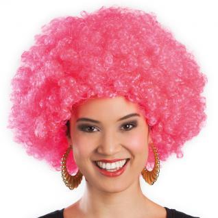 Karneval Klamotten Kostüm Perücke Afro pink Zubehör Disco Karneval