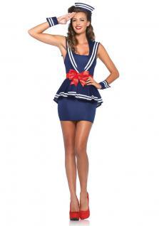 Kostüm Matrosin Matrosen Damen-kostüm Luxus blau-weiß-rot Karneval Mütze KK