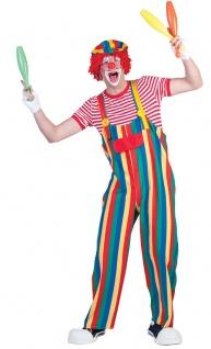 Clown Latzhose Hose Clownkostüm bunt gestreift Herrenkostüm Fasching Karneval KK