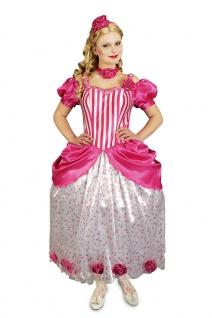 Prinzessin Kostüm Damen Märchen-Prinzessin Kleid rosa lang Karneval Fasching KK