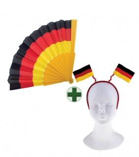Haarreif Deutschland Fan-Haarreif 2 Flaggen Deutschland mit Fächer Deutschland K