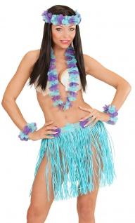 Kostüm Hawaii Set blau 5 Tlg Dame Kostüm Karneval Sommerparty Damenkostüm