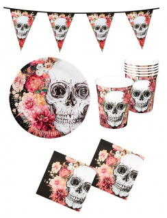 Halloween Tischdeko Party Set Totenkopf Horror Teller Becher Servietten Girlande
