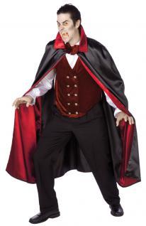 Vampir Dracula Kostüm HerrenKostüm Halloween Karneval Herren Vampirumhang rot