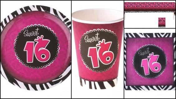 Geburtstags Party Set Deko Sweet 16 Jahre Partygeschirr Tischdecke 37 Tlg. KK