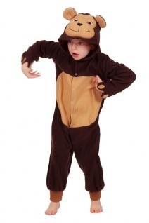 Affenkostüm Kinder Affe Plüsch Overall mit Kapuze Tierkostüm Karneval Fasching K - Vorschau