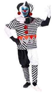 Horror Clown Kostüm Herren gruseliges Zombie Harlekin Halloweenkostüm Narr KK