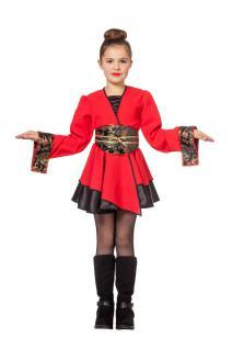 Karneval Klamotten Kostüm Chinesin rot Mädchen Karneval Japan Mädchenkostüm - Vorschau