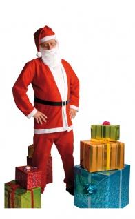 Weihnachtsmann Kostüm Herren Santa Claus Nikolaus Mantel Hose Mütze Gürtel Bart