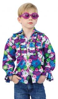 Schlager Disco Kostüm Kinder Schlagerhemd blau lila bunt Blumen KK