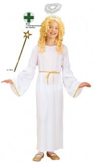 Engelskostüm Mädchen weiß-gold Heiligenschein Weihnachts-Engel Kinderkostüm KK