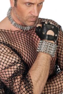 Punk Punker Armband mit silber Spikes luxus Fasching Karneval KK