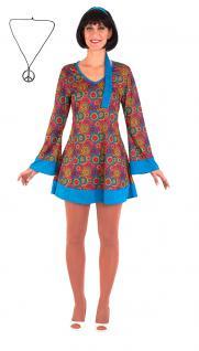 Karneval Klamotten Kostüm Set Hippie Kleid Retro mit Peace-Kette Damenkostüm