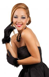 Handschuhe kurz schwarz mit Feder-n Glamour-Kostüm Show-Kostüm Party Karneval KK