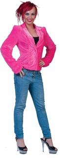 70er 80er Jahre Kostüm Damen Jacke pink Plüsch Proll Assi Disco Fasching KK