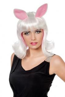 Hasen-Perücke Hase Bunny Damenperücke mit Ohren weiß Karneval Fasching KK