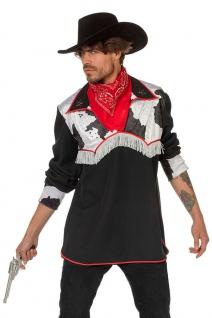 Cowboy Kostüm Herren Wilder Westen Hemd Western schwarz weiß Karneval Fasching K