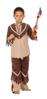 Indianer Kostüm Kinder Jungen Cherokee beige braun Karneval Fasching KK