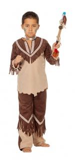 Indianer Kostüm Kinder Jungenkostüm beige braun Karneval Fasching KK