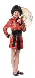 Chinesen Kostüm Kinder Mädchen rot schwarz Chinesenhut China Karneval Fasching K