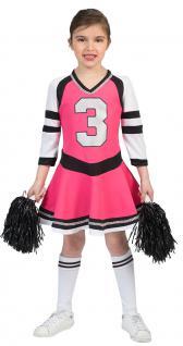 Cheerleader Kostüm Kinder pink schwarz Kinder-Kostüm Cheerleader-Kleid Mädchen K