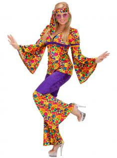 Hippie Hippie-kostüm Flower Power 60er 70er Jahre flieder Damen-Kostüm KK