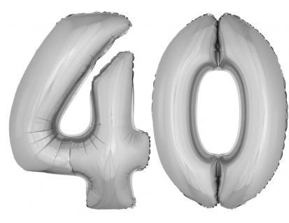 Folienballons Luftballon-SetXXL Zahl Geburtstag 40 Jahre silber Party Dekoration