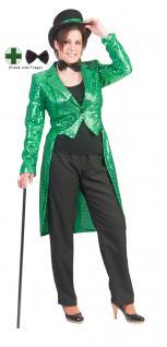 Karneval Klamotten Kostüm Frack Pailletten grün mit Fliege schwarz Show Party