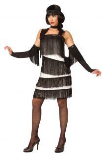 Charleston Kleid Charleston Kostüm 20er Jahre Damen-Kostüm weiß schwarz KK