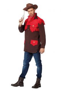 Kostüm Cowboy Herren Westernkostüm Cowboyhemd Western Hemd braun-rot KK