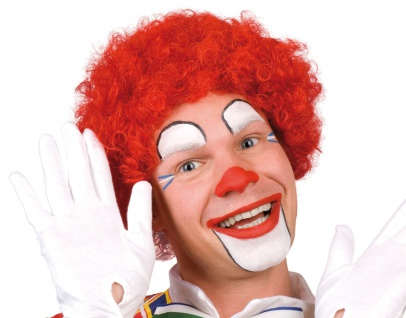 Karneval Klamotten Kostüm Perücke Clown Locken rot Zubehör Zirkus Karneval