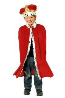 König Kostüm Kinder Umhang Cape rot Königsmantel Jungen Kinderkostüm Karneval KK