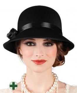 Charleston Hut schwarz 20er Hut 30er Hut Damen-Hut mit Perlenkette Karneval KK
