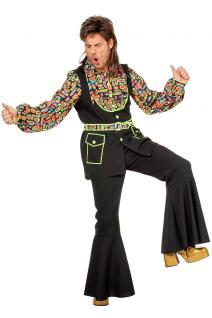 Disco-Hemd Schlagerhemd 80er Jahre Hemd Retro Herren-hemd neon Herren-kostüm KK