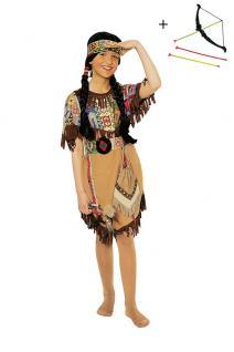 Kinder Geburtstag Party Kostüm Set: Indianerin Mädchen Kleid INKL. Pfeil + Bogen