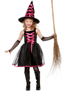 Hexen-kostüm Kinder Hexe kurzes Hexen-Kleid pink schwarz mit Hut Halloweenkostüm