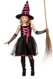 Hexen-Kostüm Kinder Mädchen Hexenkleid pink schwarz Hexenhut Halloweenkostüm KK