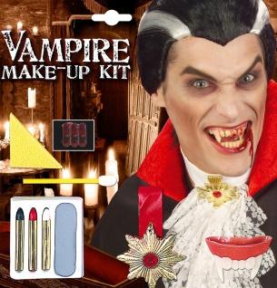 Vampir Halloween Schmink Set mit Vampir-Zähne und Halskette KK