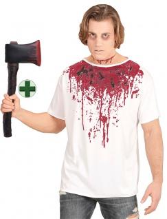 Zombie Kostüm Herren Halloween Horror T-Shirt Blut MIT blutige Axt KK