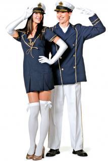 Kapitän Kostüm Damen Kapitänskostüm Matrosen Damen-Kostüm Matrosin blau-gold KK