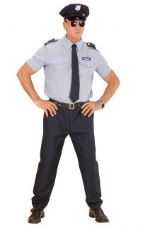 Polizist Kostüm Herren Komplettkostüm mit Mütze Krawatte Gürtel Fasching KK