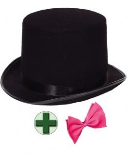 Zylinder-Hut Herren schwarz mit Fliege pink Erwachsene Silvester-Hut Karneval KK