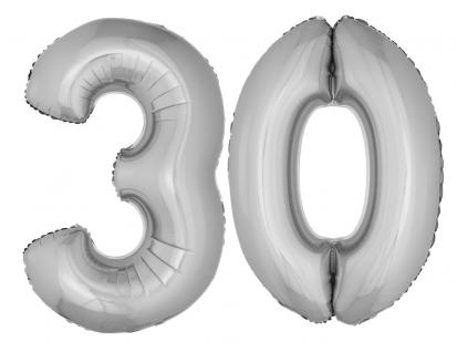 Folienballons Luftballon-SetXXL Zahl Geburtstag 30 Jahre silber Party Dekoration