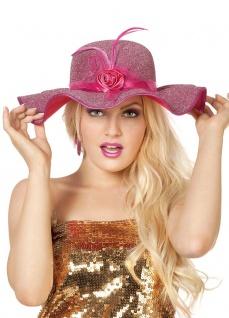 Glitzer-Hut rosa Glitter Damen-Hut mit Blume und Federn Fasching Karneval KK
